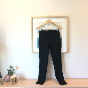 Black polka dot pattern velvet leggings pants